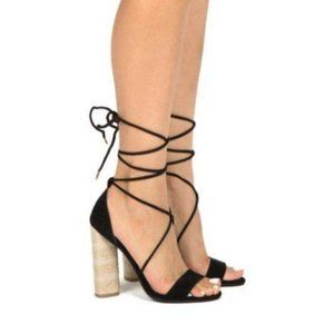 Shoes - Black Suede & Canvas Lace Up Heels